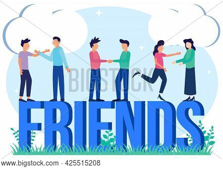 Friendship Concept Flat Style Vector Illustration. Happy Group Of People Smiling And Laughing Togeth