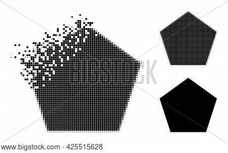 Shredded Dotted Pentagon Icon With Halftone Version. Vector Destruction Effect For Pentagon Symbol.