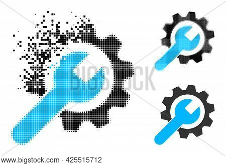 Dust Pixelated Repair Service Pictogram With Halftone Version. Vector Wind Effect For Repair Service