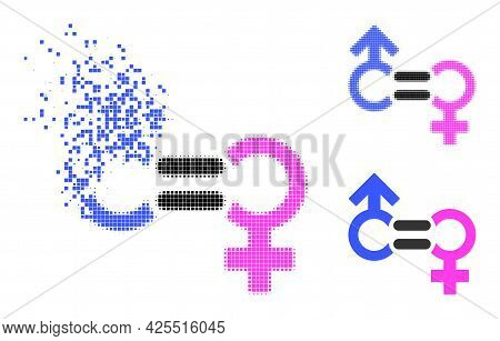 Broken Dotted Genders Relation Symbol Icon With Halftone Version. Vector Wind Effect For Genders Rel