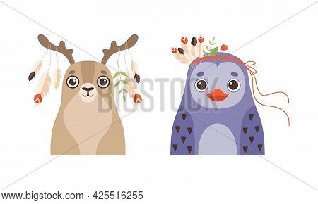 Set Of Lovely Animal With Wreath Of Flowers On Head, Spring Portraits Of Deer And Penguin Lovely Bab