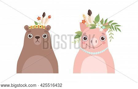 Set Of Lovely Animal In Wreath Of Flowers, Spring Portraits Of Cute Bear And Pig Baby Animals Cartoo