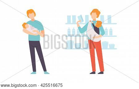 Fathers Taking Caring Of Their Babies Set, Young Dad Shopping With Baby, Happy Fatherhood Concept Fl