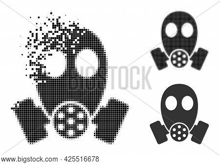 Fragmented Dotted Gas Mask Pictogram With Halftone Version. Vector Wind Effect For Gas Mask Icon. Pi