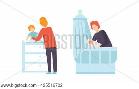 Fathers Taking Caring Of Their Kids Set, Young Dad Dressing And Putting Baby To Bed, Happy Fatherhoo