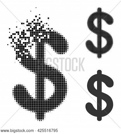 Dissipated Pixelated Dollar Currency Glyph With Halftone Version. Vector Destruction Effect For Doll