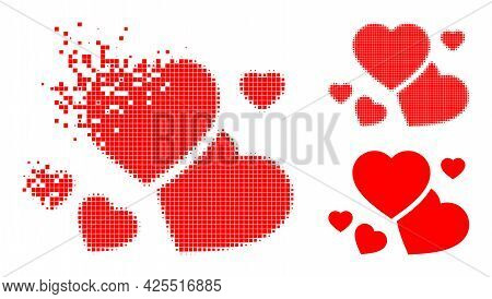 Damaged Pixelated Romantic Hearts Glyph With Halftone Version. Vector Destruction Effect For Romanti