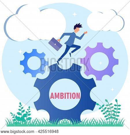 Vector Illustration Of The Concept Of Ambition Of A Business Man, Patience And Motivation. A Challen