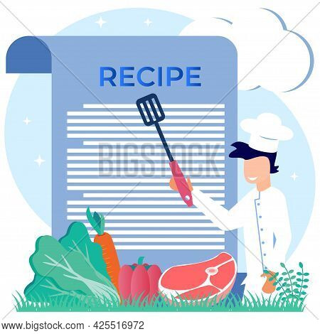 Food Recipe Vector Illustration. Professional Chef Writing Ingredients List Concept. Healthy And Del