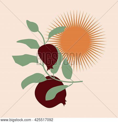 Minimalist Branch With Pomegranates And Sun. Cartoon Vector Illustration Isolated On Beige Backgroun