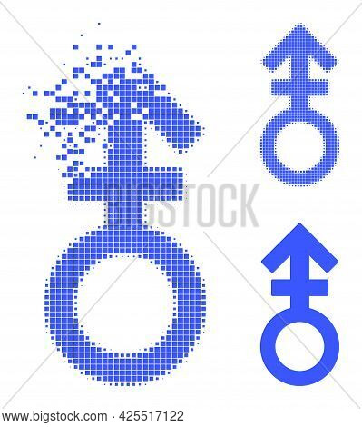 Dissolving Pixelated Third Gender Symbol Pictogram With Halftone Version. Vector Wind Effect For Thi
