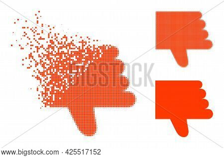 Dissolving Pixelated Thumb Down Icon With Halftone Version. Vector Destruction Effect For Thumb Down