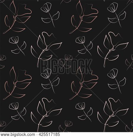 Trendy Abstract Flower Seamless Pattern In Line Art Style. Vector Texture For Home Decor Design, Clo