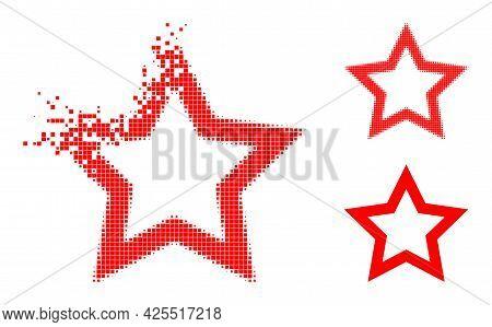 Dissolving Pixelated Contour Star Icon With Halftone Version. Vector Destruction Effect For Contour