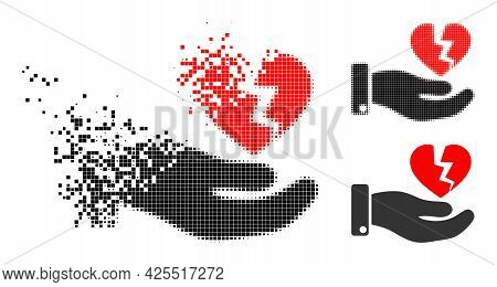 Dissipated Dotted Hand Offer Broken Heart Icon With Halftone Version. Vector Destruction Effect For