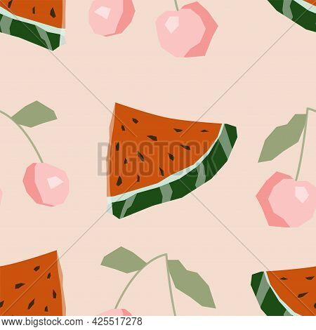Seamless Pattern With Juicy Watermelon And Cherry Berry. Endless Vector Texture