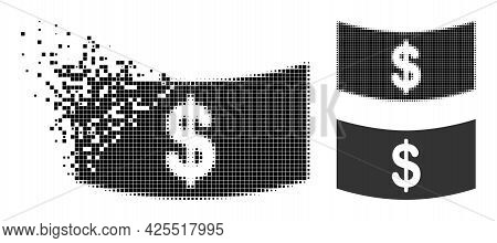 Disintegrating Dot Dollar Banknote Icon With Halftone Version. Vector Destruction Effect For Dollar