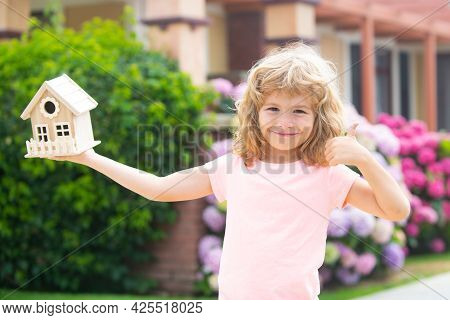 Child Dreaming About A New House Or Home. Concept Of Housing For Children.