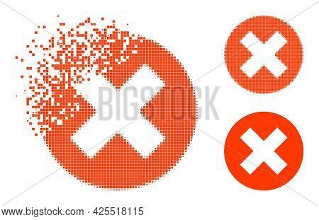 Dissolving Dotted Delete Icon With Halftone Version. Vector Destruction Effect For Delete Pictogram.