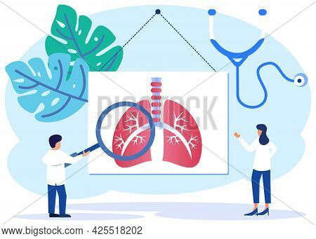 Vector Illustration Of Lung Health Concept In Humans. Abstract Respiratory System Examination And Tr