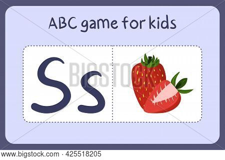 Kid Alphabet Mini Games In Cartoon Style With Letter S - Strawberry. Vector Illustration For Game De