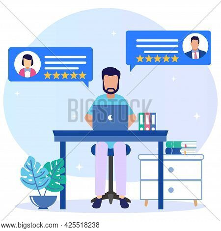 Flat Style Vector Illustration. Men Work At Home Office. Characters Sitting At Desks In Cozy Spaces,