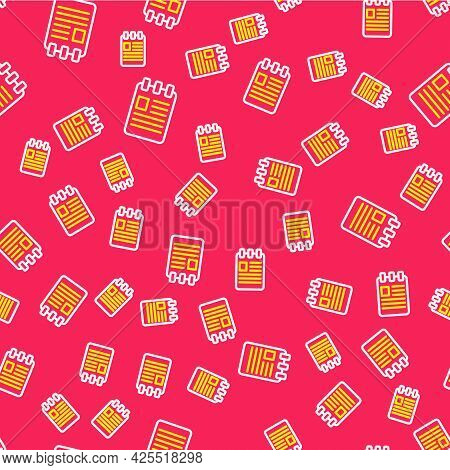 Line Notebook Icon Isolated Seamless Pattern On Red Background. Spiral Notepad Icon. School Notebook