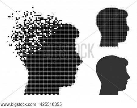 Damaged Pixelated Man Head Profile Icon With Halftone Version. Vector Destruction Effect For Man Hea