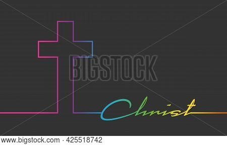 Cross And Christ Word Connected With Line