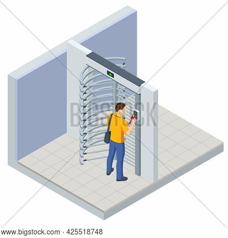 Isometric Full Height Turnstile Security System. Security Gates. Access Control Equipment. Magnetic