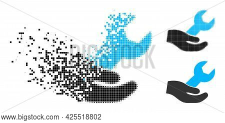 Dissolving Pixelated Hand And Wrench Icon With Halftone Version. Vector Destruction Effect For Hand