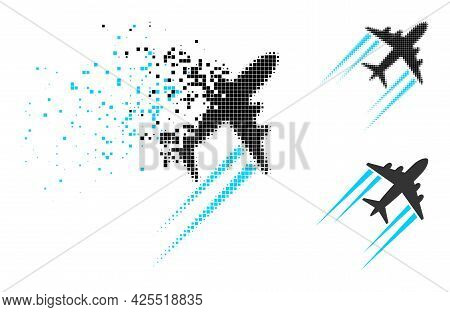 Disappearing Dot Flying Airplane Trace Pictogram With Halftone Version. Vector Destruction Effect Fo