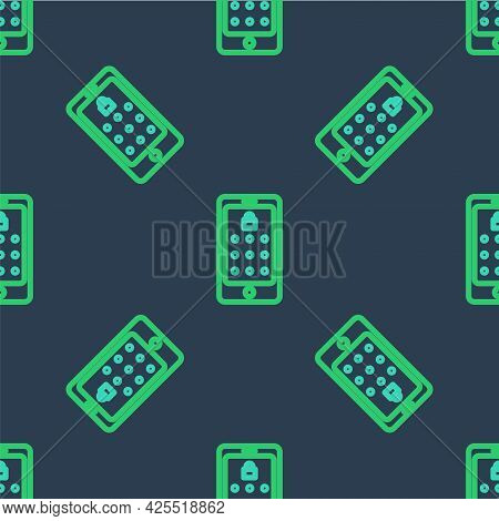 Line Mobile Phone And Graphic Password Protection Icon Isolated Seamless Pattern On Blue Background.