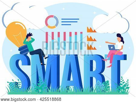 Vector Illustration Of Smart Brain With Innovative Thinking Knowledge. A Brainstorming Process With