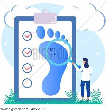 Vector Illustration Of Podiatry As Medication Meant By Doctor Character, Limbs, Lower Extremities An