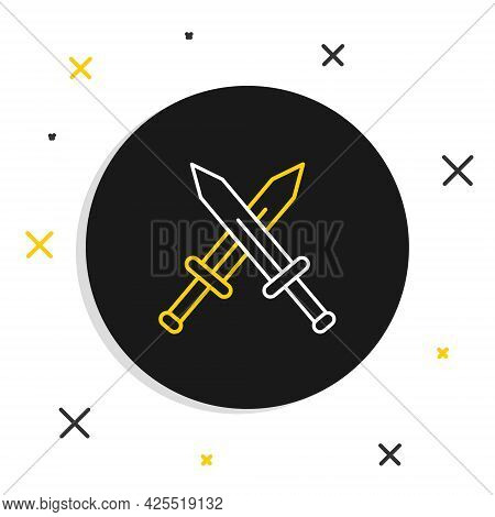 Line Crossed Medieval Sword Icon Isolated On White Background. Medieval Weapon. Colorful Outline Con