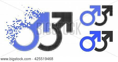 Dissolved Pixelated Gay Couple Symbol Icon With Halftone Version. Vector Wind Effect For Gay Couple