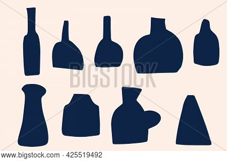 A Large Set Of Stylized Hand-drawn Vases. Silhouettes Of Ceramic Flower Vases, Jugs In The Boho Styl