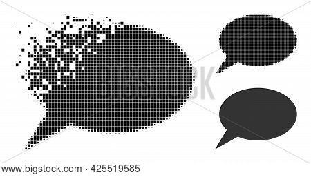 Dust Pixelated Forum Message Glyph With Halftone Version. Vector Destruction Effect For Forum Messag
