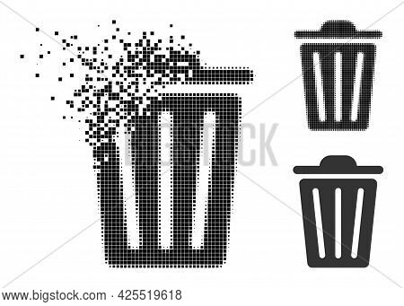 Disappearing Pixelated Trash Can Pictogram With Halftone Version. Vector Wind Effect For Trash Can P