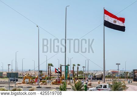 Sharm El Sheikh, Egypt - June 3, 2021: Tourists On Peace Square In Sharm El Sheikh City In Egypt.