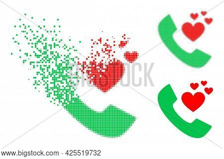 Dissolving Pixelated Lovely Phone Receiver Pictogram With Halftone Version. Vector Wind Effect For L