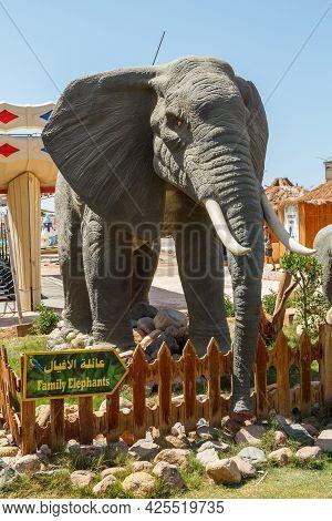 Sharm El Sheikh, Egypt - June 3, 2021: Figure Of An Elephant In A Park Of Sharm El Sheikh City In Eg