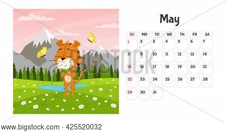 Horizontal Desktop Calendar Page Template For May 2022 With A Cartoon Tiger Symbol Of The Chinese Ye