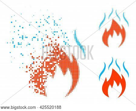 Disappearing Dotted Fire With Smoke Icon With Halftone Version. Vector Wind Effect For Fire With Smo