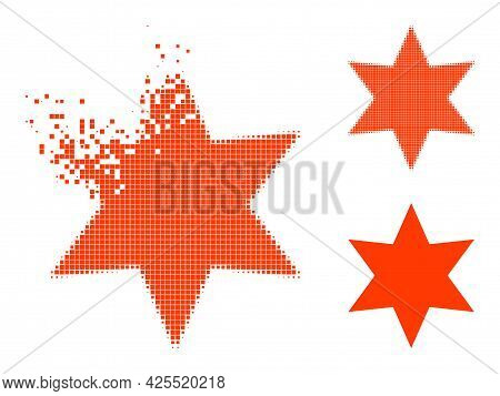 Decomposed Pixelated Six Pointed Star Pictogram With Halftone Version. Vector Destruction Effect For