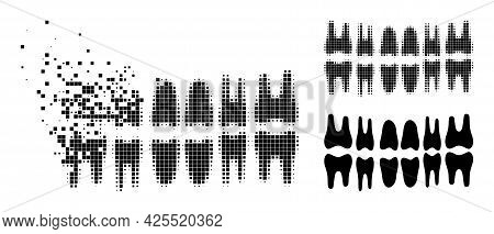 Broken Pixelated Teeth Jaw Glyph With Halftone Version. Vector Destruction Effect For Teeth Jaw Pict