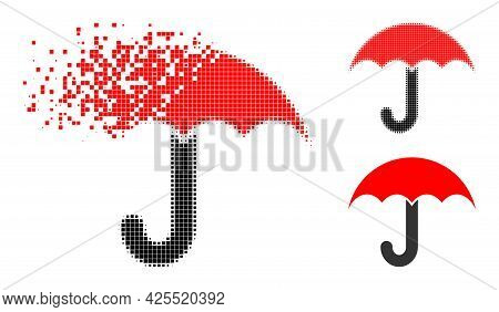 Dissipated Pixelated Umbrella Glyph With Halftone Version. Vector Destruction Effect For Umbrella Ic