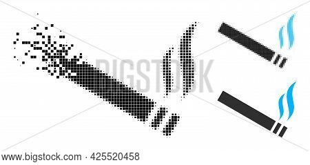 Dispersed Pixelated Cigarette Smoke Icon With Halftone Version. Vector Destruction Effect For Cigare