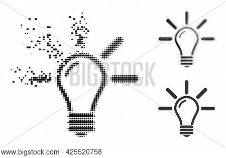 Shredded Dot Light Bulb Pictogram With Halftone Version. Vector Destruction Effect For Light Bulb Pi
